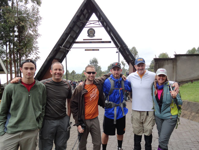 Group Starting the climb of Mount Kilimanjaro