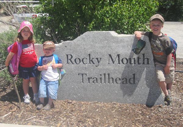 Kids standing at Rocky Mouth Trailhead